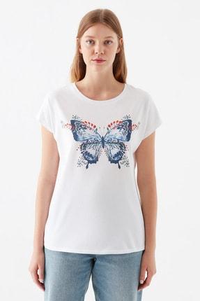 Mavi Kadın Kelebek Baskılı Beyaz Tişört 1600522-620 2