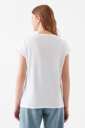 Mavi Kadın Kelebek Baskılı Beyaz Tişört 1600522-620 3