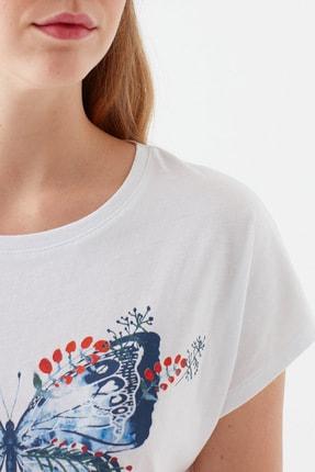 Mavi Kadın Kelebek Baskılı Beyaz Tişört 1600522-620 4