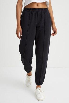 Curly Store Kadın Siyah Dikişli Jogger Pantolon 0