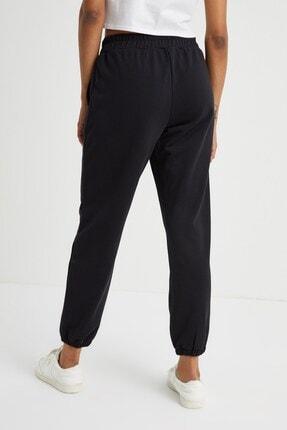 Curly Store Kadın Siyah Dikişli Jogger Pantolon 2