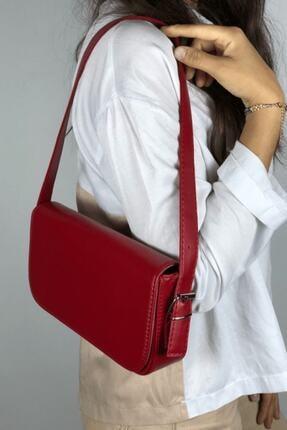 LinaConcept Kadın Kırmızı Kapaklı Baget Çanta 2