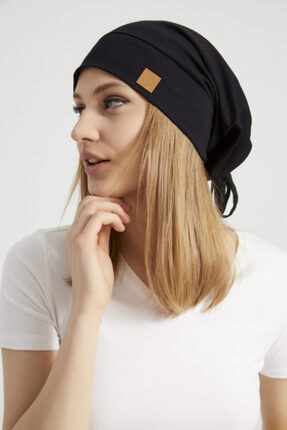 Butikgiz Kadın Siyah, Ip Detaylı Özel Tasarım 4 Mevsim Şapka Bere Buff -ultra Yumuşak Doğal Penye Kumaş 1