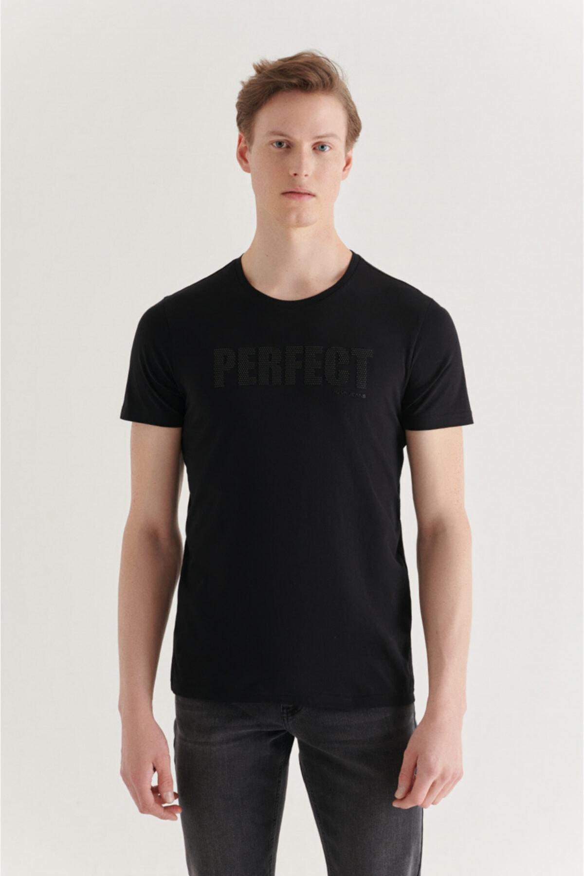 Erkek Siyah Bisiklet Yaka Baskılı T-shirt A11y1019