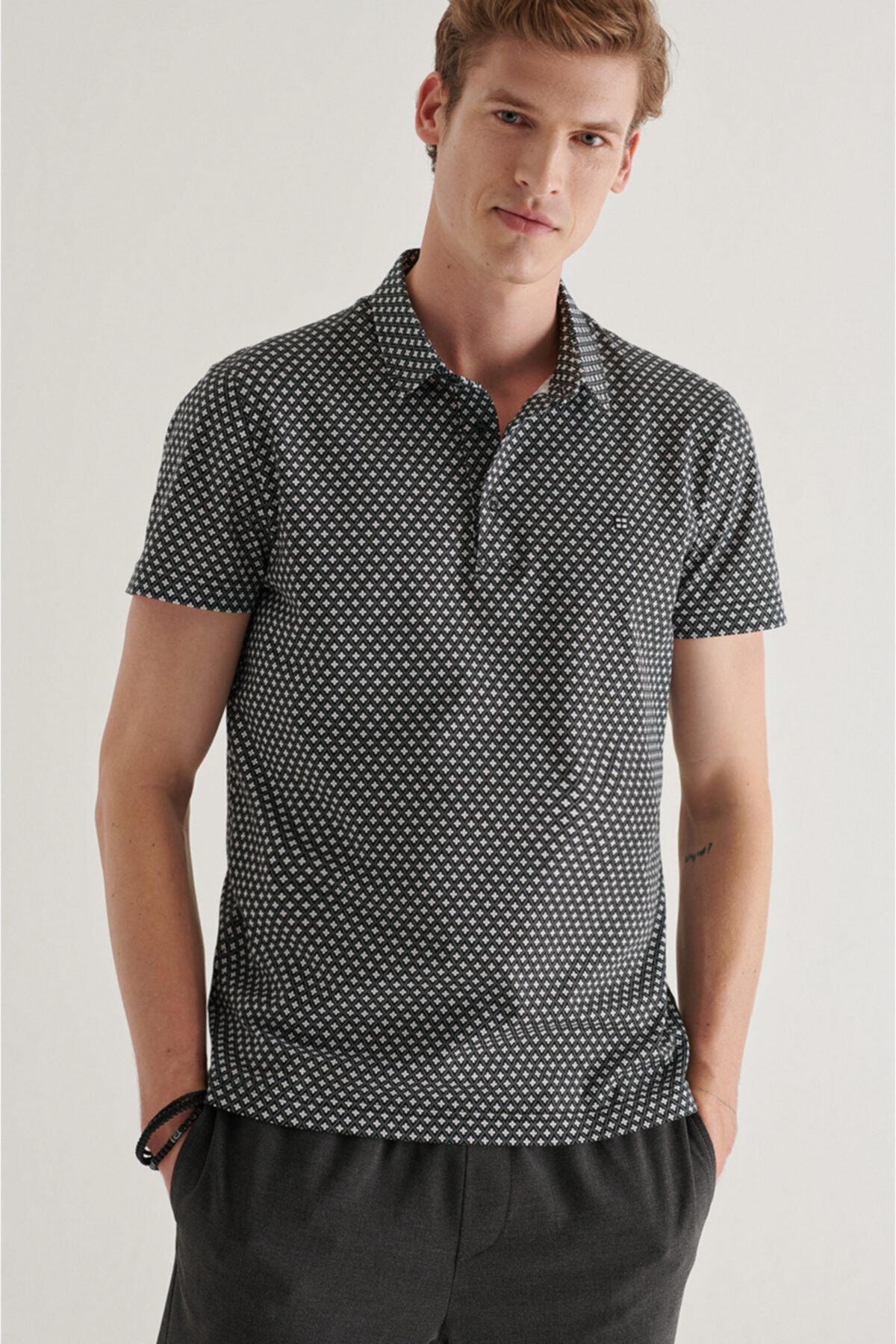Erkek Siyah Polo Yaka Baskılı T-shirt A11y1125