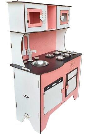WoodyLife 104 Cm Çocuk Odası Ahşap Mutfak Montessori Oyuncak Dolabı Pembe Zeytindalı Oyunevi Kutu 0