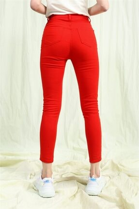 TAY STORE Kadın Kırmızı Yüksek Bel Skinny Pantolon 3
