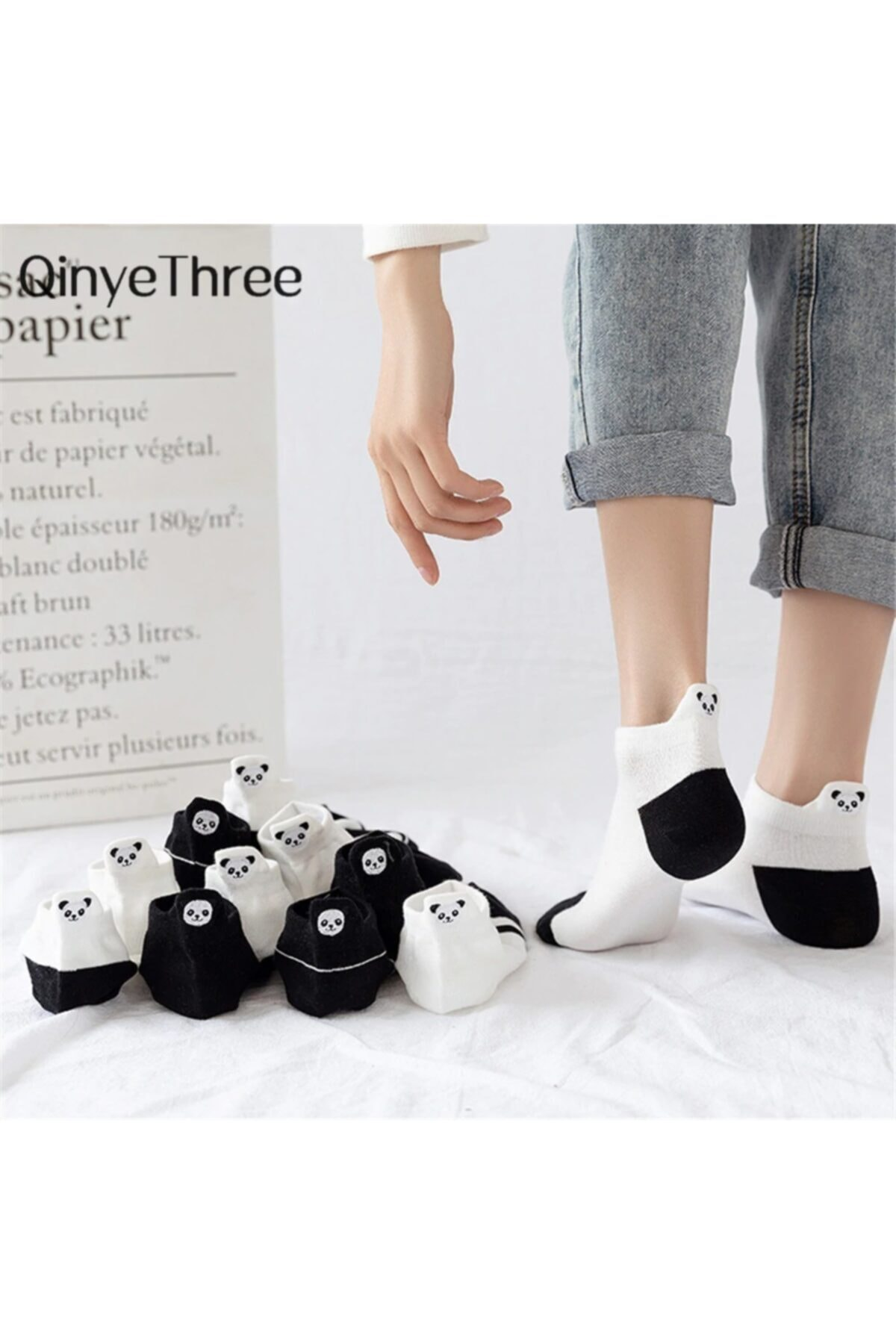 çorapmanya Kadın 5 Çift Siyah ve Beyaz Panda Desenli Nakışlı Patik Çorap