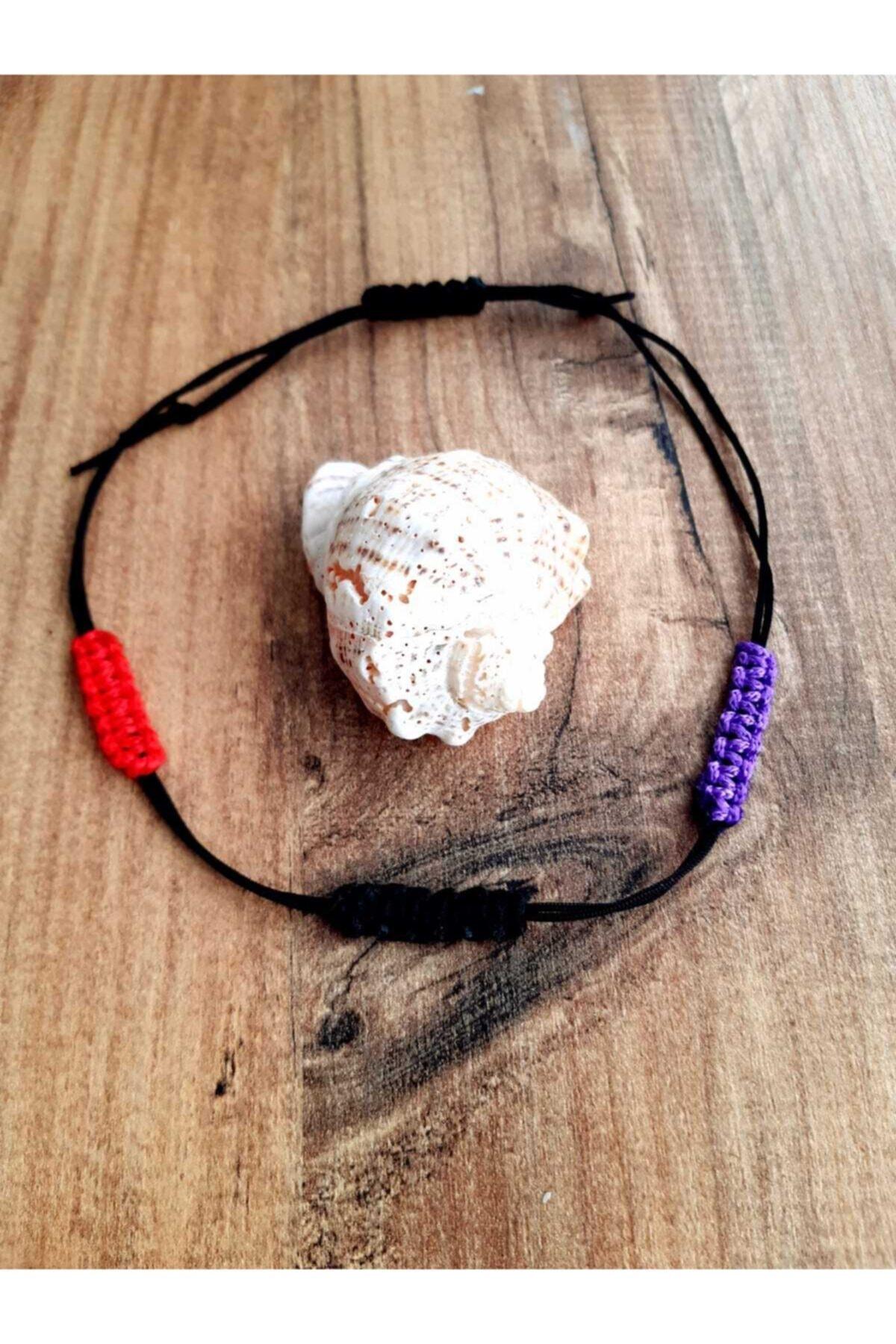 banilya Makromeli El Yapımı Kaliteli Ip Halhal Siyah Kırmızı Mor Halhal