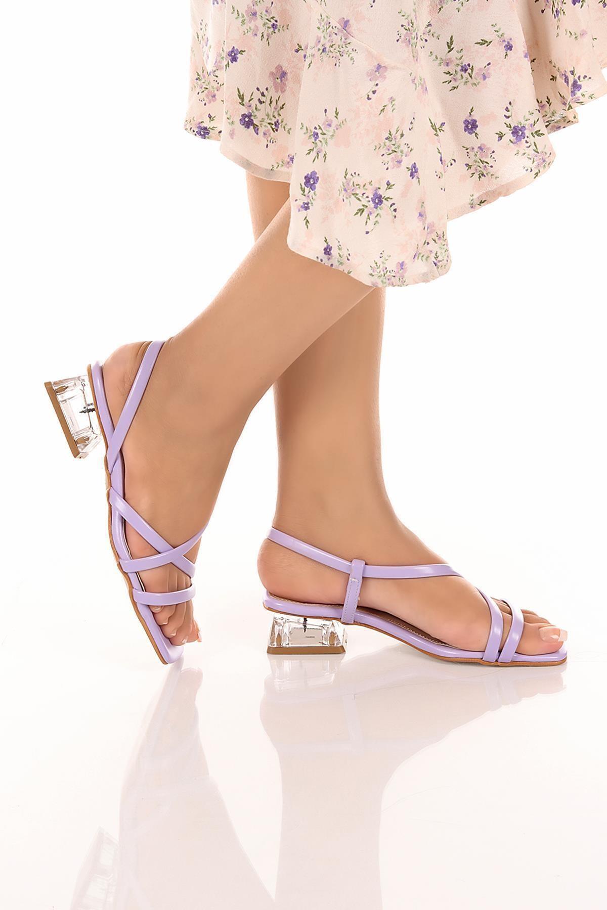 Kadın Mor Günlük Şeffaf Topuklu Şık Ve Rahat Sandalet Soby11050026
