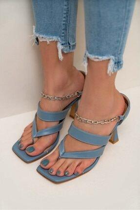 NİŞANTAŞI SHOES Kadın Gillian Mavi Mat Parmak Arası Bilek Bağlı Topuklu Ayakkabı 1