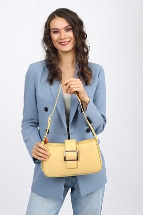 Madamra Aynı Butikte 2. Ürün 1 TL Sarı Kadın Kemerli Baguette Omuz Çantası 4