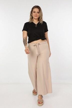 Womenice Kadın Krem Kurdelalı Bol Paça Pantolon 1