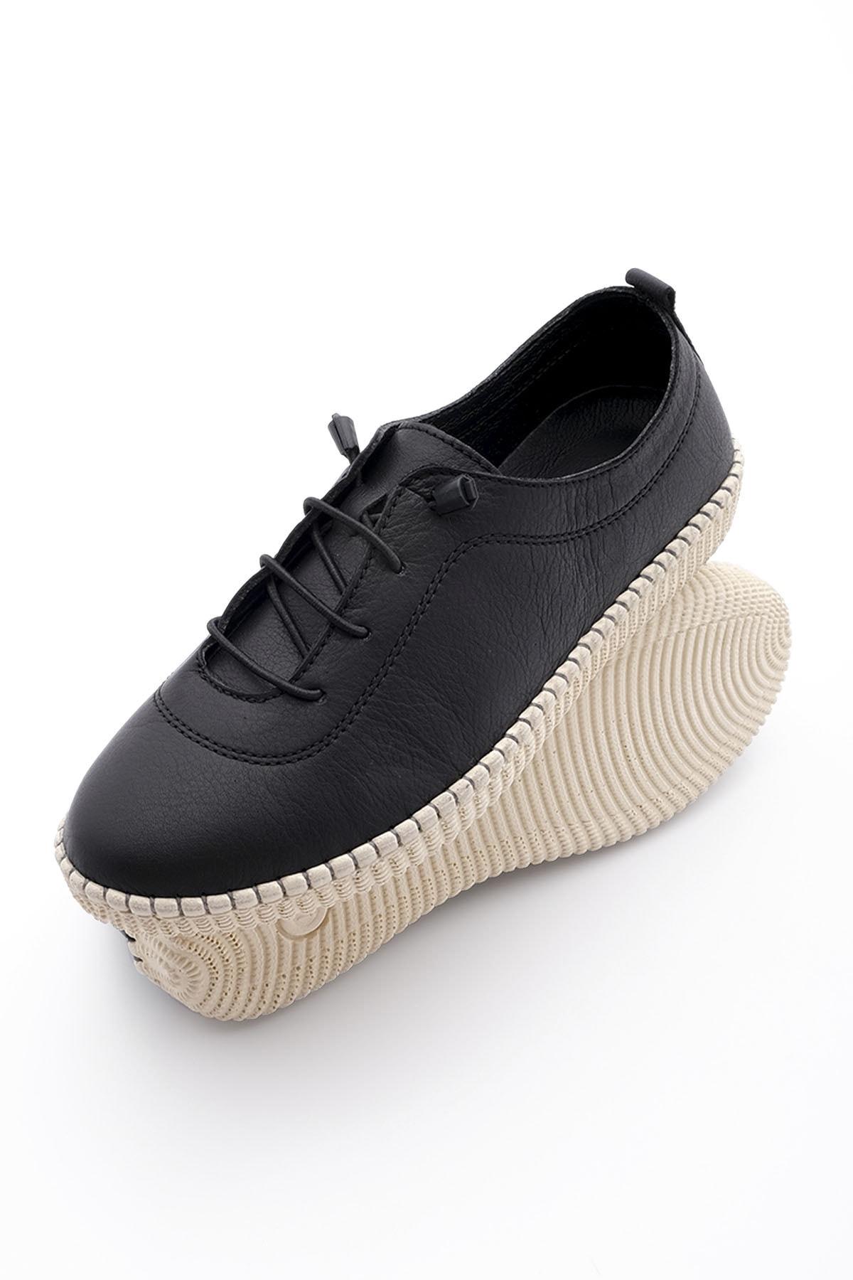 Kadın Siyah Hakiki Deri Comfort Ayakkabı Ritok