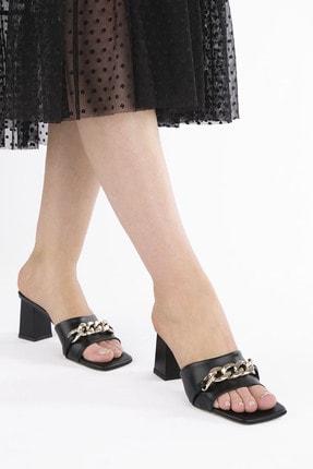 Marjin Kadın Siyah Topuklu Terlik Larme 1