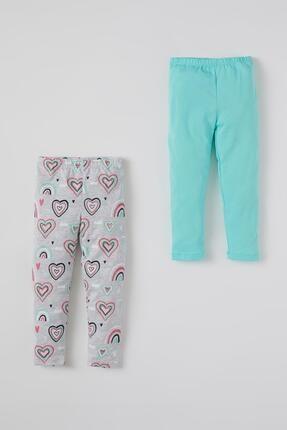 Defacto Kız Bebek Kalp Desenli 2'li Uzun Tayt 0