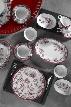 Kütahya Porselen Zeugma 28 Parça Bordo Kahvaltı Takımı 1