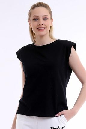 ARYA FASHION Kadın Siyah Özel Tasarım Yuvarlak Yaka Kolsuz Bol Kesim Şık Vatkalı Bluz 3