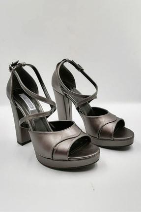 Platin Platform Topuklu Ayakkabı AYK497