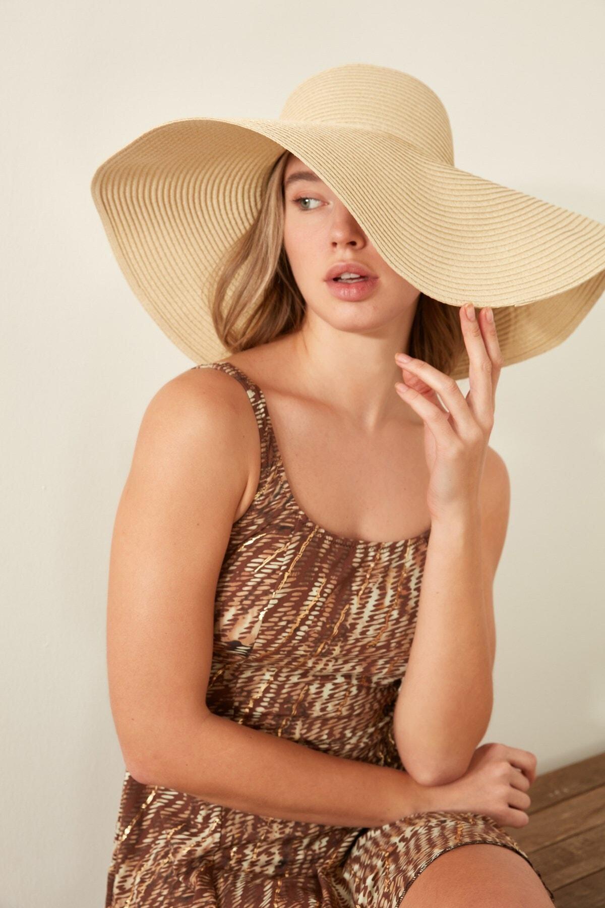 Kadın Hasır Plaj Şapkası Y1730-23 Açık Bej
