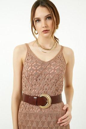 Vis a Vis Kadın Tarçın Askılı Merserize Kroşe Elbise 1