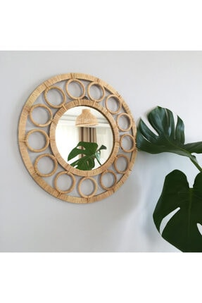 Elysium Home Art Halka Detaylı Rafya Dekoratif Duvar Aynası 0