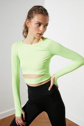 TRENDYOLMİLLA Yeşil Bel Detaylı Crop Spor Bluz TWOAW21BZ0156 1