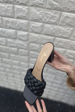 İnan Ayakkabı KADIN SİYAH ÖRGÜ BANT TOPUKLU AYAKKABI 21İ166MHM 3