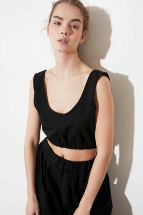 TRENDYOLMİLLA Siyah Crop Örme Bluz TWOSS21BZ1137 1
