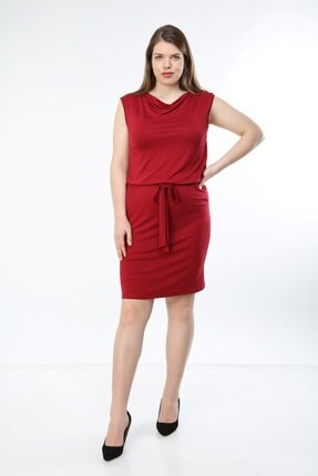 تصویر از Büyük Beden Bağcıklı Degaje Yaka Kolsuz Viskon Elbise