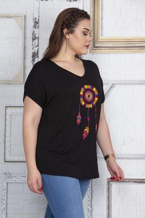 Şans Kadın Siyah Nakış Detaylı V Yaka Düşük Kol Bluz 65N22732 2