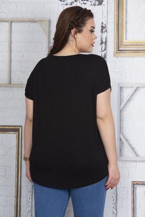 Şans Kadın Siyah Nakış Detaylı V Yaka Düşük Kol Bluz 65N22732 3