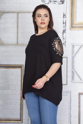 Şans Kadın Siyah Dantel Ve İnci Detaylı Viskon Bluz 65N22725 1