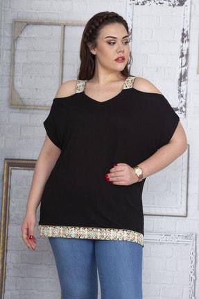 Şans Kadın Siyah Omuz Dekolteli Askı Ve Etek Ucu Payet Dantel Detaylı Bluz 65N22701 3