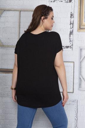 Şans Kadın Siyah Cebi Yazma Desen Tül Detaylı Düşük Kol Viskon Bluz 65N22702 3