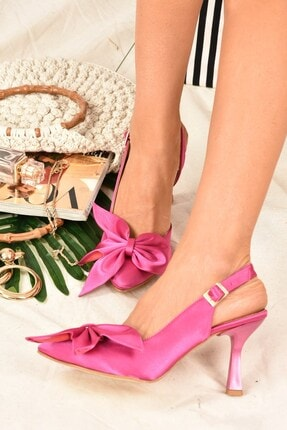 Fox Shoes Kadın  Fuşya Saten Kumaş Topuklu Ayakkabı K922164804 1