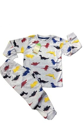 TUGSE Dinozor Baskılı Çocuk Pijama Takımı 0