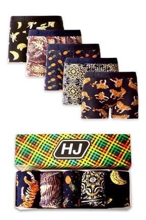 Harry Jons Erkek Desenli Renkli Pamuklu Premium Paket Boxer 5 Li 0