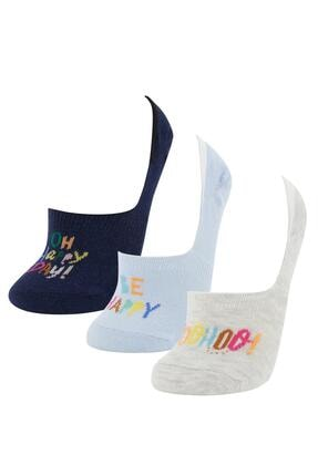 Defacto Kadın Gri Yazı Desenli 3'lü Babet Çorap 0