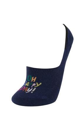Defacto Kadın Gri Yazı Desenli 3'lü Babet Çorap 2