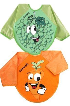 Kids Buude Belinay 2 Adet Figürlü Ve Giyilebilir Renkli Kollu Bebek Mama Önlüğü 0