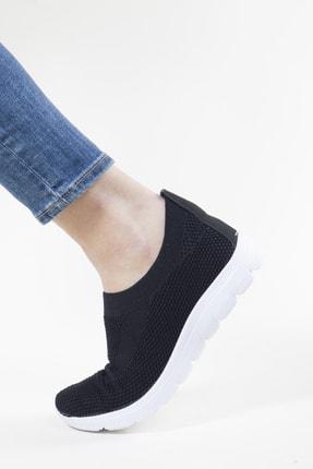 RAHATADIMLAR Kadın Siyah Beyaz Triko Sneaker 0
