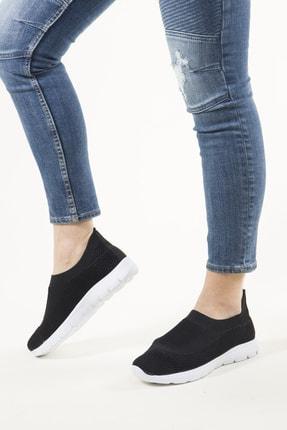 RAHATADIMLAR Kadın Siyah Beyaz Triko Sneaker 3
