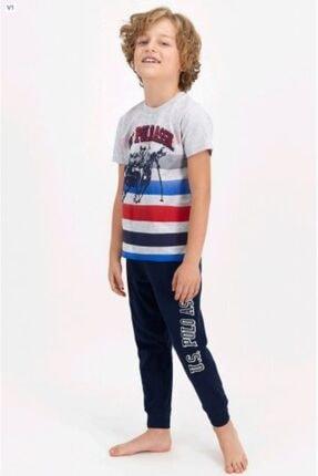 Picture of Erkek Çocuk Lacivert Gri Baskılı Pijama Takımı 804