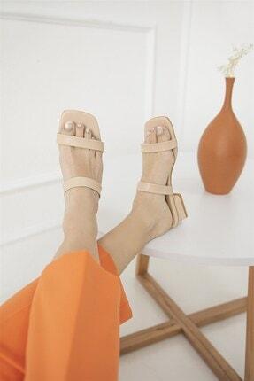 Straswans Kadın Ten Ronex Topuklu Deri Sandalet 0