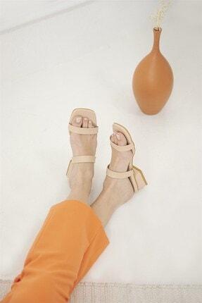 Straswans Kadın Ten Ronex Topuklu Deri Sandalet 1