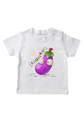 Baby Şirin Patlıcan Erkek Bebek Tişört Beyaz resmi