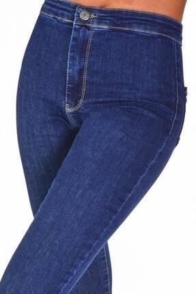 Addax Kadın Koyu Kot Rengi Yüksek Bel Pantolon Pn11178 - Pnu ADX-0000016107 3