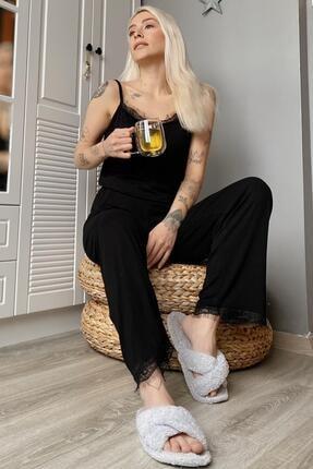 Pijamaevi Kadın Siyah Dantelli İp Askılı Örme Pijama Takımı 1