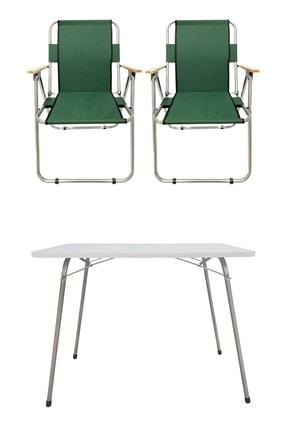 Tedarikcenter 2 Adet Ahşap Kollu Yeşil Kamp Sandalyesi + 1 Adet 60x45 cm Katlanır Masa 0